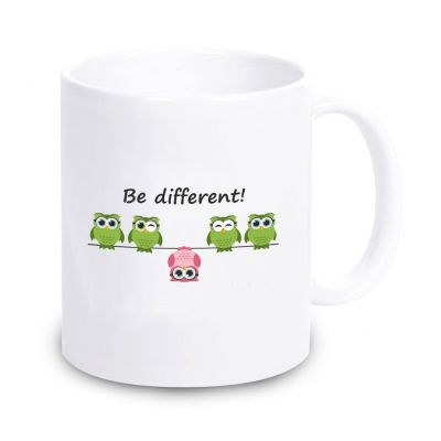 """Tasse """"Be different"""" (Eule)"""
